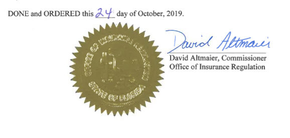 Florida Workers Comp rate drop filing signed by David Altmaier, Commissioner Office of Insurance Regulation